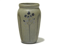 vase with stylized tree decoration by arthur e. baggs