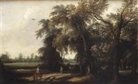 paysage boisé ainmé de personnages et un fauconnier by willem van den bundel