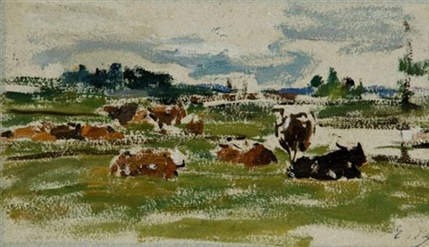 vaches au pâturage by eugène boudin