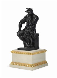 seated warrior (after michelangelo) by eugene-antoine aizelin