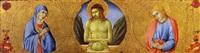 cristo in pietà fra la madonna addolorata e san giovanni evangelista by sano di pietro