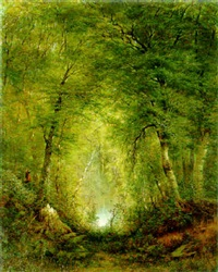 hunter in a forest interior by alexander ferdinand wust
