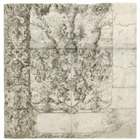 the arms of zimmern within an elaborate strapwork design with putti by jost amman
