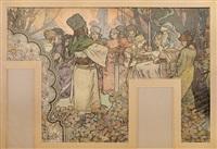 pano z pavilonu bosny a hercegoviny na světové výstavě v paříži by alphonse mucha