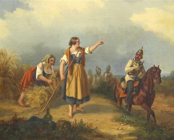 landmädchen bei der kornernte von einem vorbeiziehenden preussischen kavalleristen in der arbeit unterbrochen by ludwig elsholtz