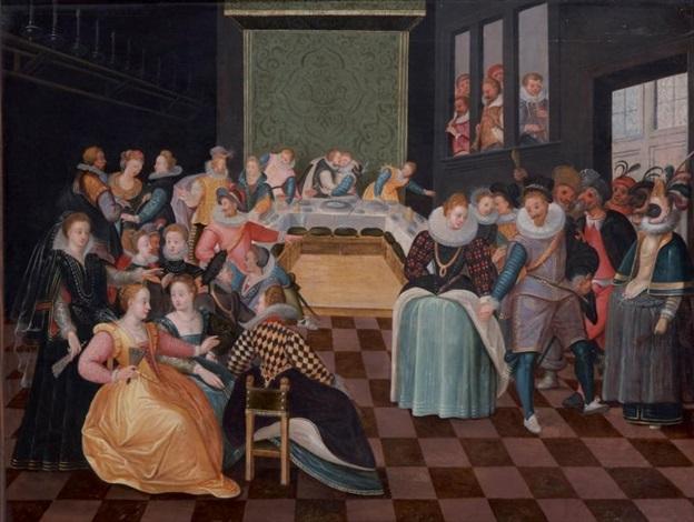 scène de banquet avec des danseuses dans un palais by louis de caullery