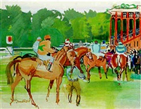 saint-cloud, jockeys et chevaux devant la grande tribune by jean mablord