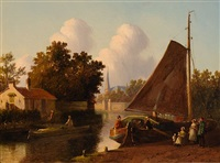 moored flat-bottom boat (+ by the river bank, oil on panel; 2 works) by joseph bles