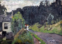 two figures by the roadside (most likely dieppe) by david davies