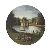 an allegory of summer; a fête champêtre before a moated castle by abel grimmer