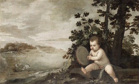 an infant holding a tambourine by lambert sustris