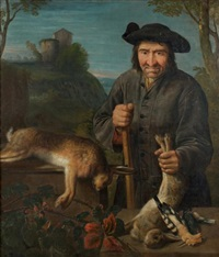 portrait d'un garde-chasse avec un trophée de lièvre, lapins et pic épeiche by peter (petrus) snyers