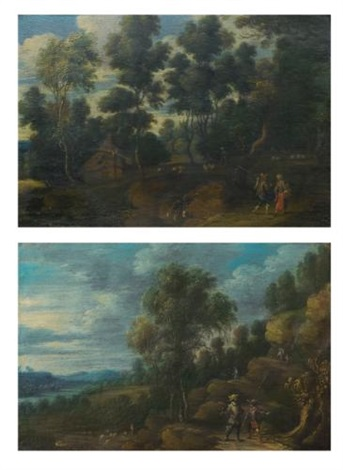 a landscape with shepherds on a path a wooded landscape with figures on a path pair by lucas van uden