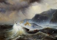 naufragio di veliero nel mare in burrasca by blanche jullet