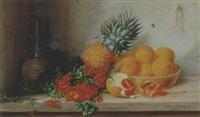 stilleben mit goldlack, ananas und orangen by alfrida baadsgaard