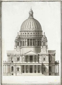 elevation of the west front of st. paul's cathedral by antonio adarni