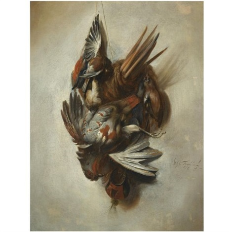 a falconry still life with a dead partridge songbirds and hunting attributes hanging on a rope by william gowe ferguson