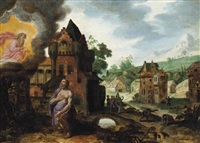 god the father appearing to job, a village being pillaged beyond by jan pynas
