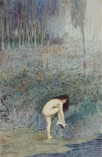 young woman drying herself by a woodland pool by albert h. cousins