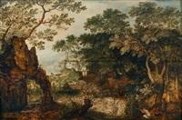bewaldete landschaft mit jägern by david vinckboons