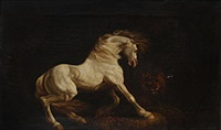 a horse frightened by a lion by george stubbs