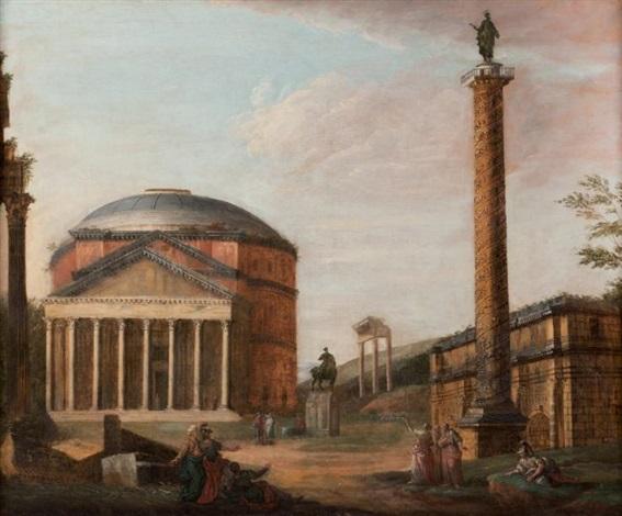 vue de ruines romaines avec la colonne trajane by giovanni paolo panini