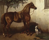 portrait de cheval sellé et chien by wouter verschuur the younger