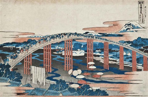 tokaido okazaki yahagi no hashi the yahagi bridge at okazaki on the tokaido road from the series shokoku meikyo kiran oban yoko e by katsushika hokusai