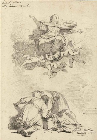 the assumption of the virgin after luca giordano and two figures after antonio vassilacchi laliense by jean honoré fragonard