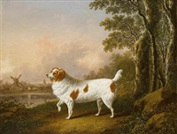 a liver and white spaniel in a landscape by charles towne
