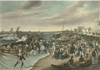 madras, landing (+ madras, embarking, 2 works by charles hunt) by james butler (sir) east