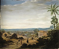 a brazilian landscape, with natives and slaves near a plantation house in a village by frans jansz post