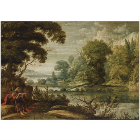 a wooded river landscape with saint james the greater seated on a rock in the foreground by david teniers the elder