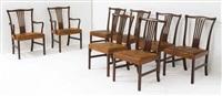suite de six chaises et deux fauteuils (set of 8) by helge vestergaard jensen