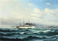 ships of the german imperial navy at the edgde of copenhagen harbour by vilhelm victor bille