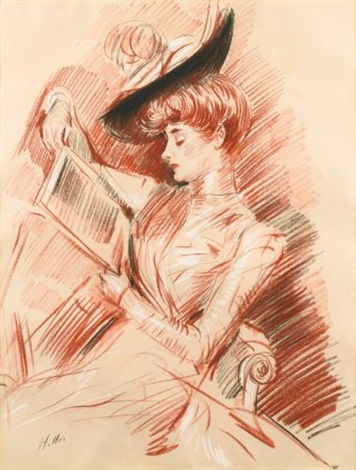 madame helleu reading by paul césar helleu