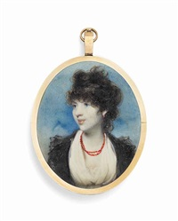 a young lady, in white dress and fichu, a black lace coat and coral necklace, upswept curling hair; sky background by george chinnery