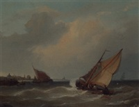 shipping entering a harbour in a stiff breeze by eugene jacques hubert wolters