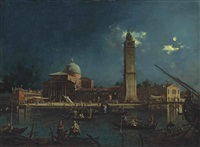 a night festival at san pietro di castello, venice by canaletto