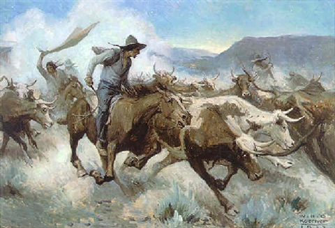 cattle stampede by william henry dethlef koerner on artnet