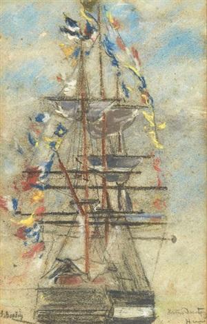 bateau pavoisé by eugène boudin