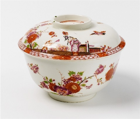 a meissen lidded bowl with stadler chinese figures