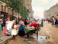 bloemverkoopster op parijse boulevard by anton karssen