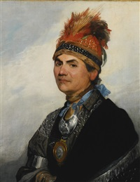 portrait of the mohawk chieftain thayendanegea, known as joseph brant by gilbert stuart