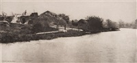 brick-field on the river bure, plate xx (from pictures of east anglian life) by peter henry emerson