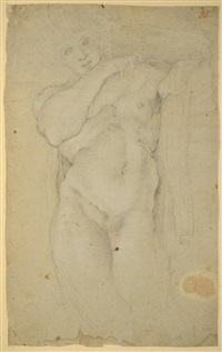 two male nudes (two studies of male nudes) (2 works) by annibale carracci