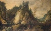 paysage montagneux animé de personnages by philips de momper the elder