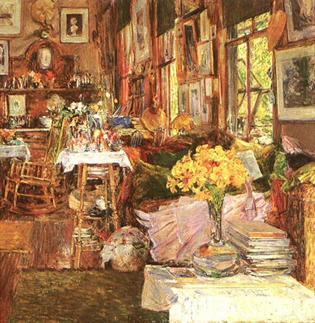 the room of flowers by childe hassam