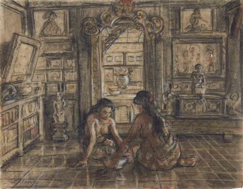 a study of two balinese women in an interior recto study of a balinese woman verso by adrien jean le mayeur de merprés