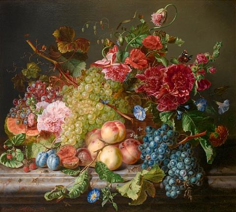 still life with fruit and flowers on a ledge by amalie kaercher